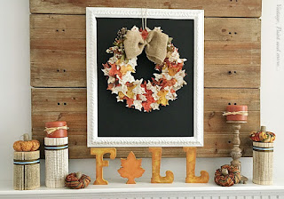Vintage, Paint and more... a fall mantel done with a paper leaf wreath, book page columns and little fabric pumpkins