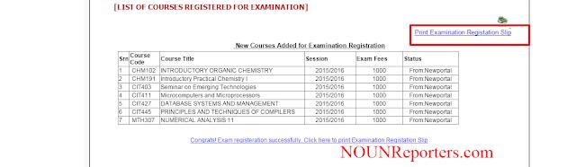 How to Print NOUN Exam Registration Slip