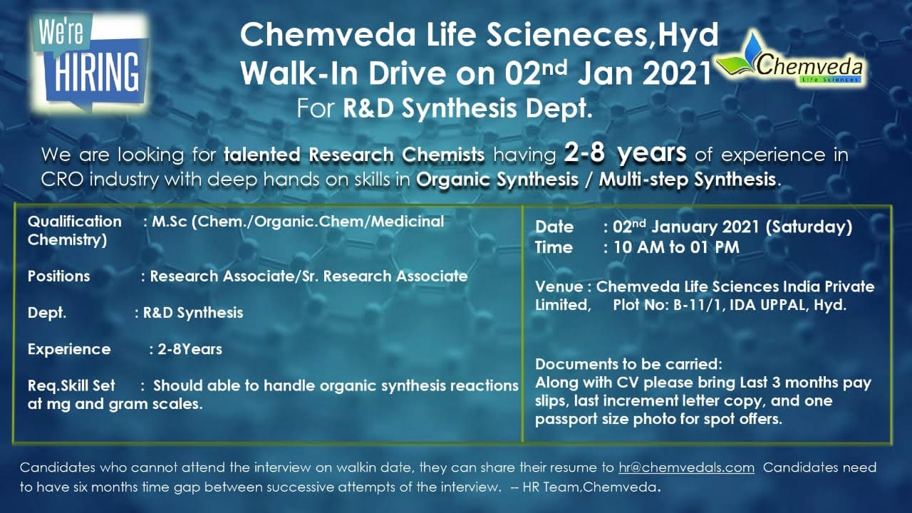 Chemveda Life Sciences WalkIn Drive for R and D Synthesis Dept on 2nd Jan 2021