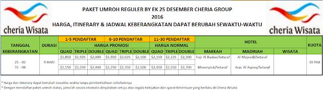PAKET UMROH REGULER BY EK 25 DESEMBER 2016 CHERIA GRUOP