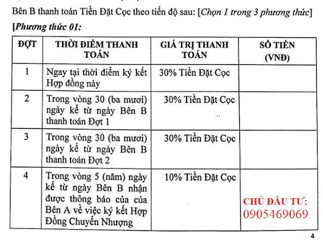 thanh toán khu đô thị Điện Nam