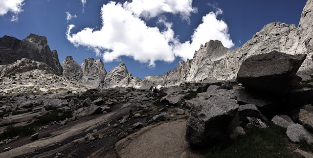 The Cirque of the Towers in the Wind River Range of Wyoming. Looking towards Wolf's head on the approach