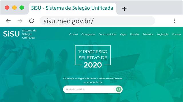 Inscrições pelo home page do Sistema SiSU
