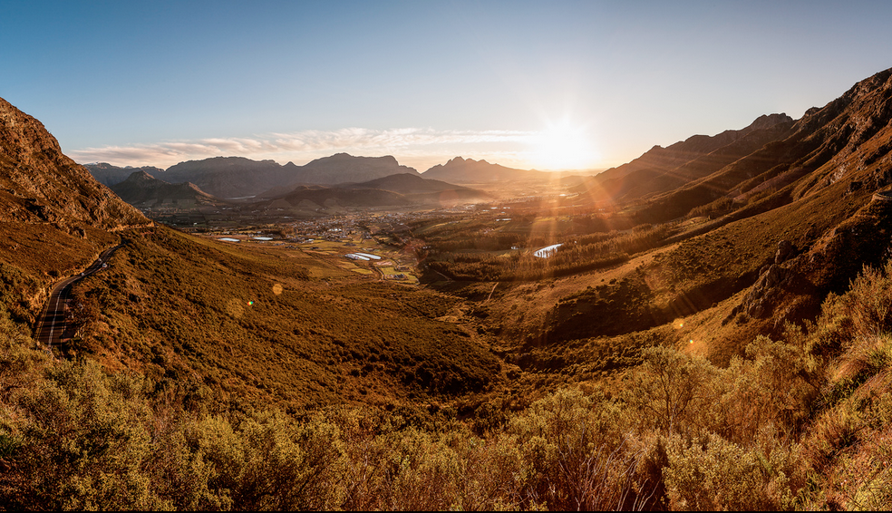 Sunset over Franschhoek from Franschhoek Pass
