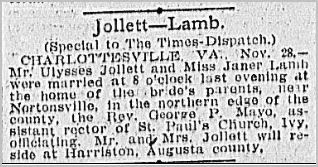 Newspaper article wedding Ulysses Jollett and Sadie Lamb https://jollettetc.blogspot.com