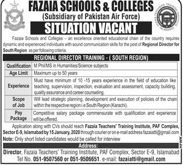 Fazaia Schools And Colleges Latest Jobs