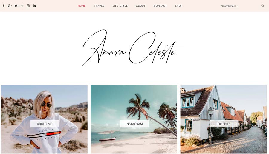 Amara - Responsive Fashion, Travel Blogger Template