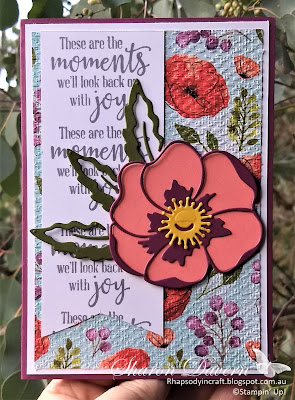 Peaceful Moments, Peaceful Moments Bundle, Poppy Moments Dies, Peaceful Moments DSP, Tasteful Textures Embossing Folder, Friendship Card, Stampin' Up, Rhapsody in craft, Art With Heart, Card sketch
