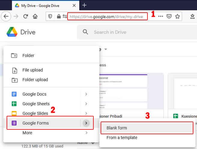 membuat file google form baru
