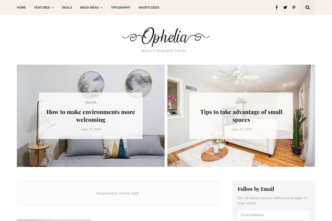Template Ophelia | Modelo de Blogger de beleza responsivo
