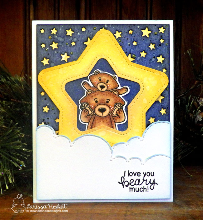 Bear and Cub Card by Larissa Heskett | Papa Bear Stamp Set by Newton's Nook Designs #newtonsnook #handmade