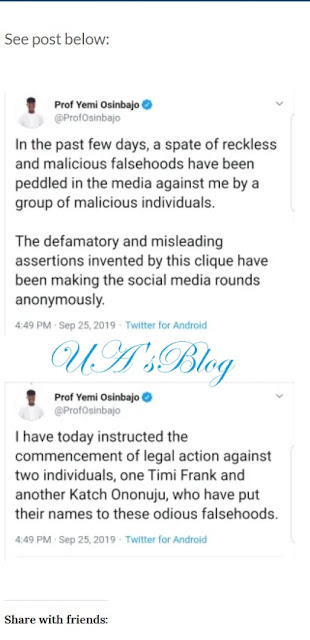 Osinbajo sues Timi Frank, Ononuju for lying about N90 billion FIRS Election Funds