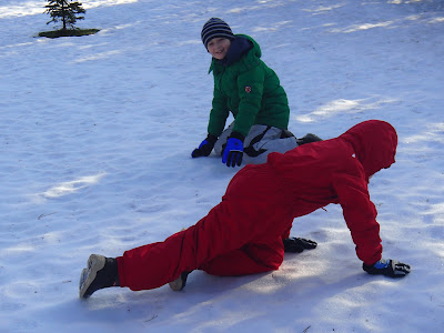 zabawy na śniegu, zima pod Babią Górą, jazda na sankach