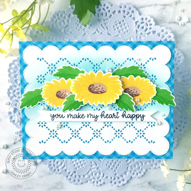 Sunny Studio Stamps: Cheerful Daisies Frilly Frame Dies Happy Thoughts Everyday Card by Ashley Ebben