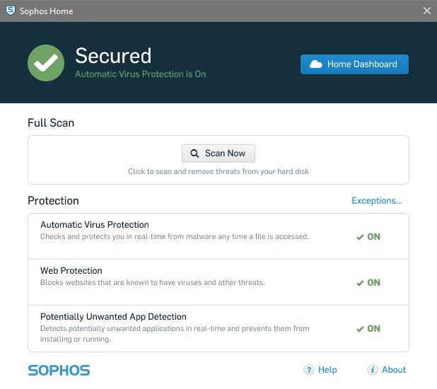 sophos home free antivirus for windows10