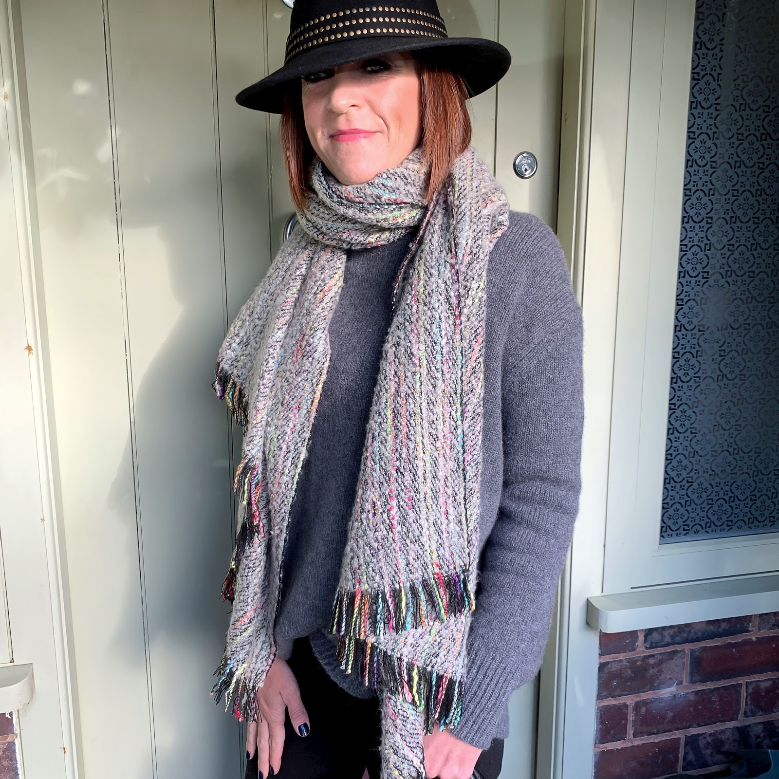 my midlife fashion, john lewis fedora hat, zara turtle neck cashmere jumper, madeleine mutli coloured scarf, j crew toothpick 8 inch jeans, madeleine leather tote bag with removable inner bag, madeleine soft suede chelsea boots