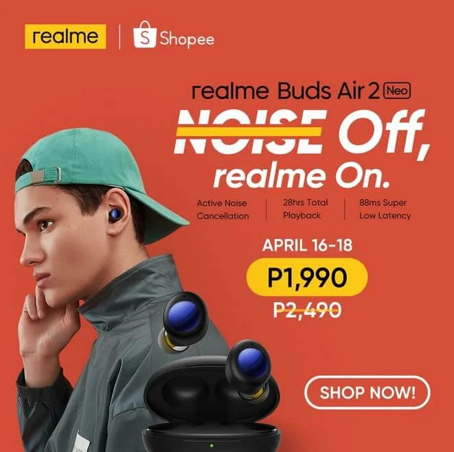 realme Buds Air 2 Neo Active Noise Cancellation True Wireless Earbuds Now in PH; Yours for Only Php1,990