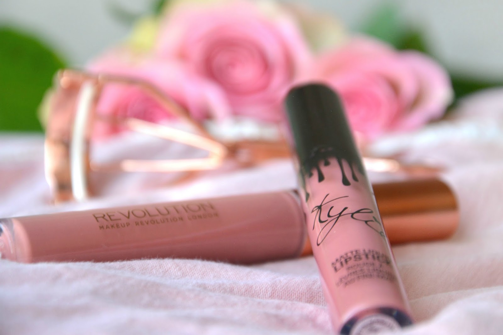 Makeup Revolution Retro Luxe Matte Lip Kit Echelon; Kylie Cosmetics Matte Liquid Lipstick Candy K; Primark Eyelash Curler; Fresh Pink Roses