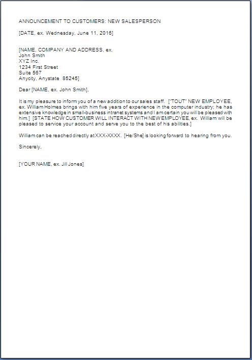 New Employee Introduction Letter To Customers