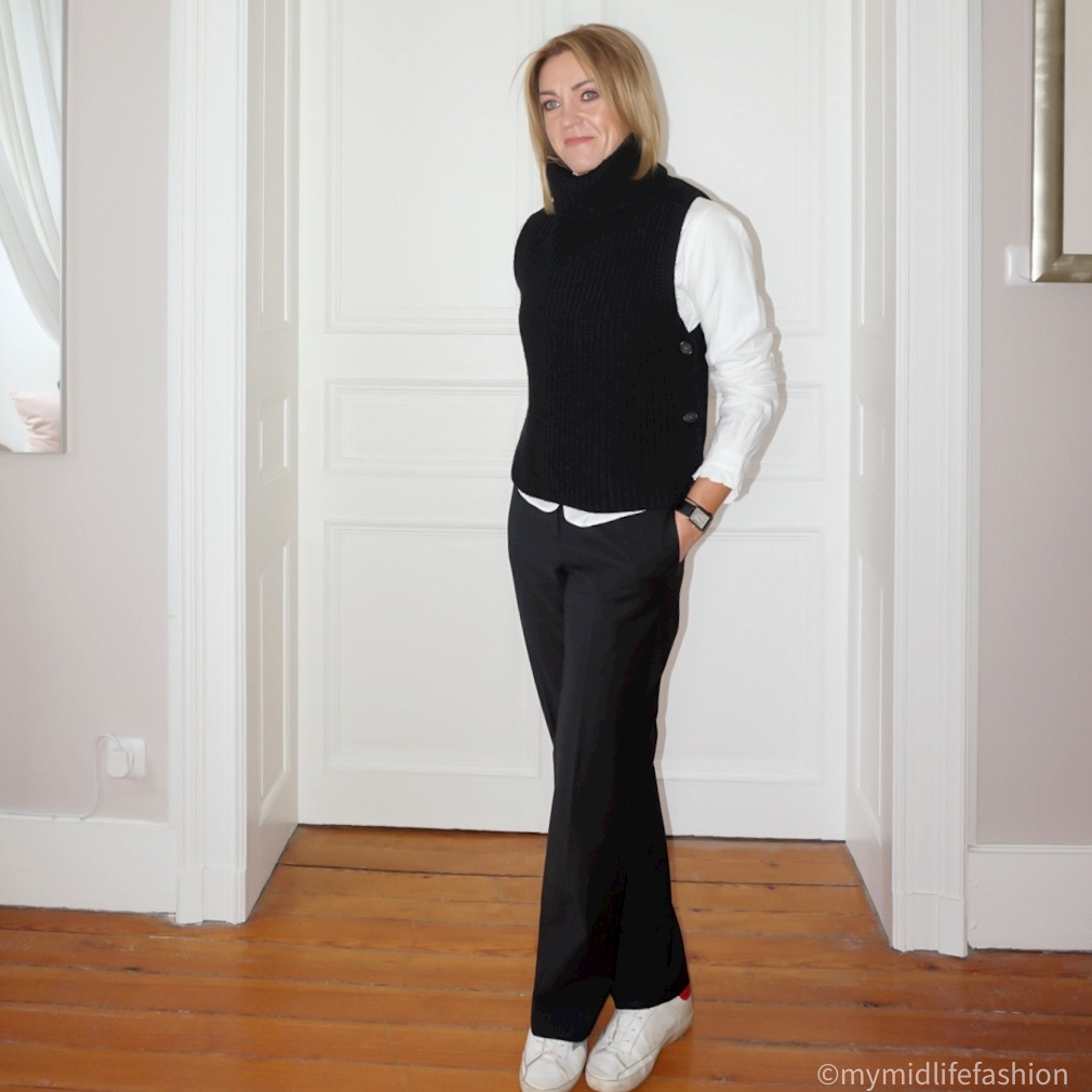 my midlife fashion, baukjen palazzo wide legged trousers, arket knitted tank top, Uniqlo ruffle collar blouse, golden goose superstar low top leather trainers