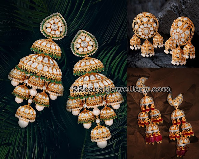 Multiple Jhumkas Hanging Heavy Earrings
