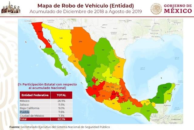 Puebla con más autos robados