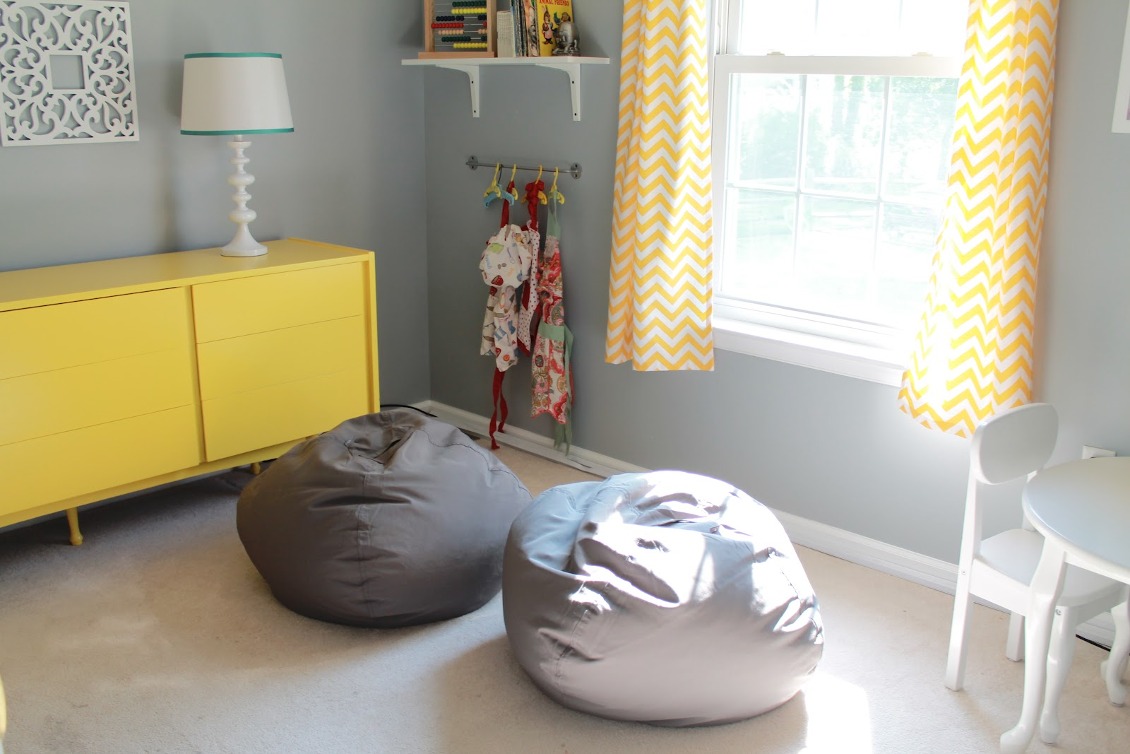 Gray and Yellow Playroom The Reveal