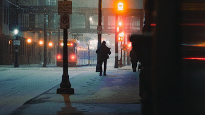 Night, Snow, City, Train, Street, People