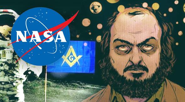 Logo de la nasa con el logo de la franmasonería y una ilustración de Stanley Kubrick
