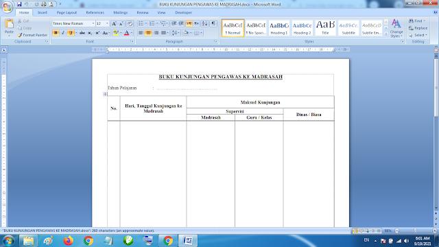 Format Buku Kunjungan Pengawas Sekolah Format Word