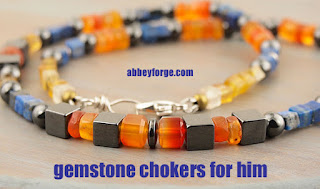 Gemstone Choker: Carnelian Hematite Lapis Lazuli and Citrine Sterling Silver Accents 19 Inch Length