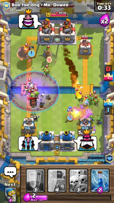 clan battle, 2v2, clash royale