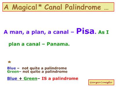 wordplay; magical palindrome; canal; Panama; Pisa; Italy; Giorgio Coniglio