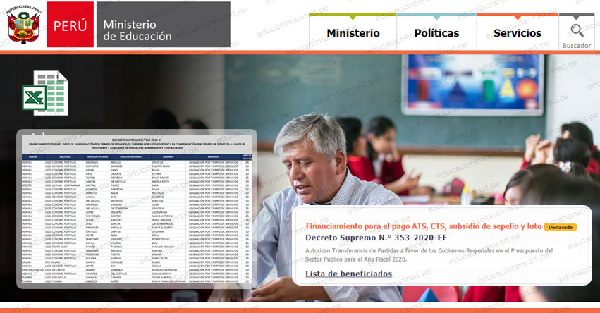 MINEDU publicó Lista de Beneficiados para el pago de ATS, CTS, Subsidio por Luto y Sepelio (Docentes y Auxiliares) D. S. Nº 353-2020-EF