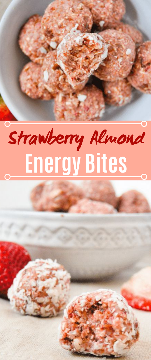 No Bake Strawberry Almond Energy Balls #healthy #snacks