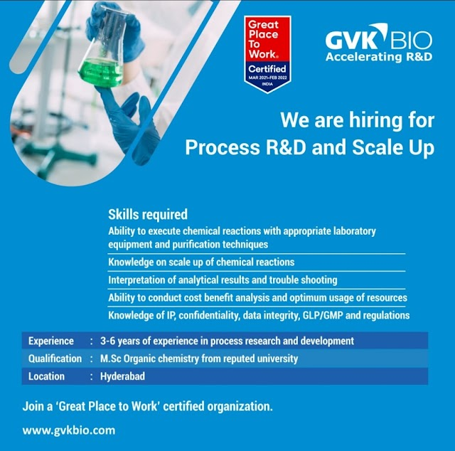 GVK BIO Hiring for Process R&D and Scale Up @ Hyderabad Share your CV