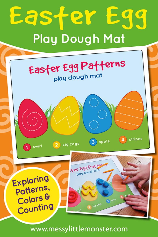 Easter egg playdough mat activity for preschoolers