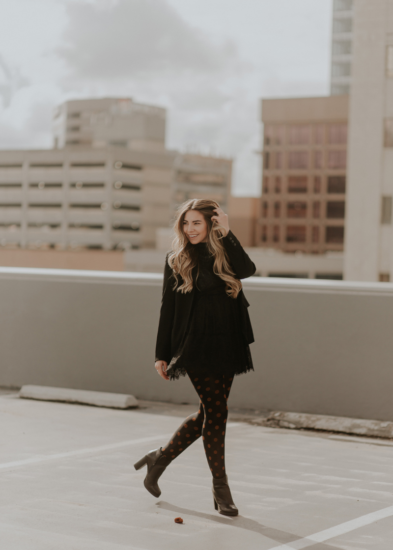 polka dot tights, heeled booties, lace dress