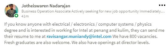 Vacancy Intel at Penang and Kulim - Berita or News