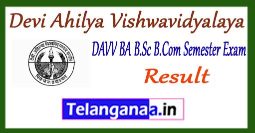 DAVV Devi Ahilya Vishwavidyalaya BA B.Sc B.Com 1st 3rd 5th Semester Result 2017