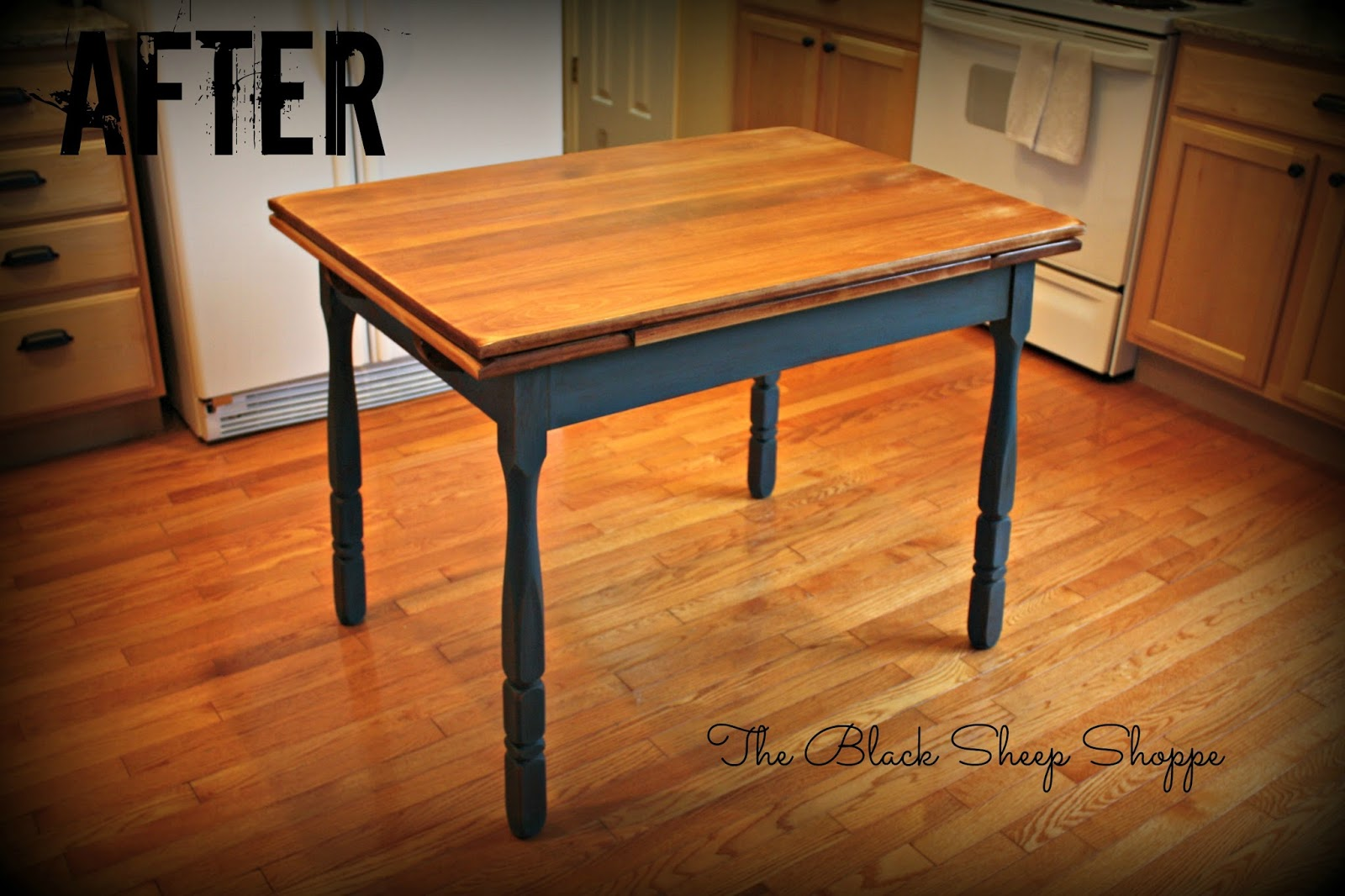 Vintage kitchen table painted Aubusson blue.