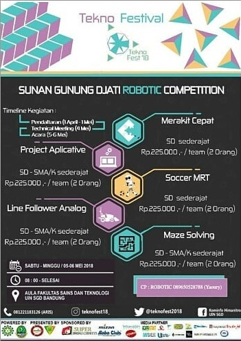Lomba Sunan Gunung Djati Robotic, Futsal & Basket Competition Teknofest 2018 Bandung