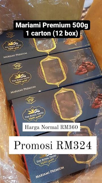 Harga Promosi 1 Karton (12 Kotak) Kurma Mariami Premium 500g ialah RM324 (Jimat RM36)