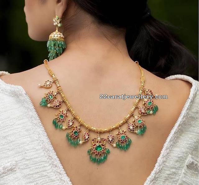 Emerald Drops Simple Mango Necklaces