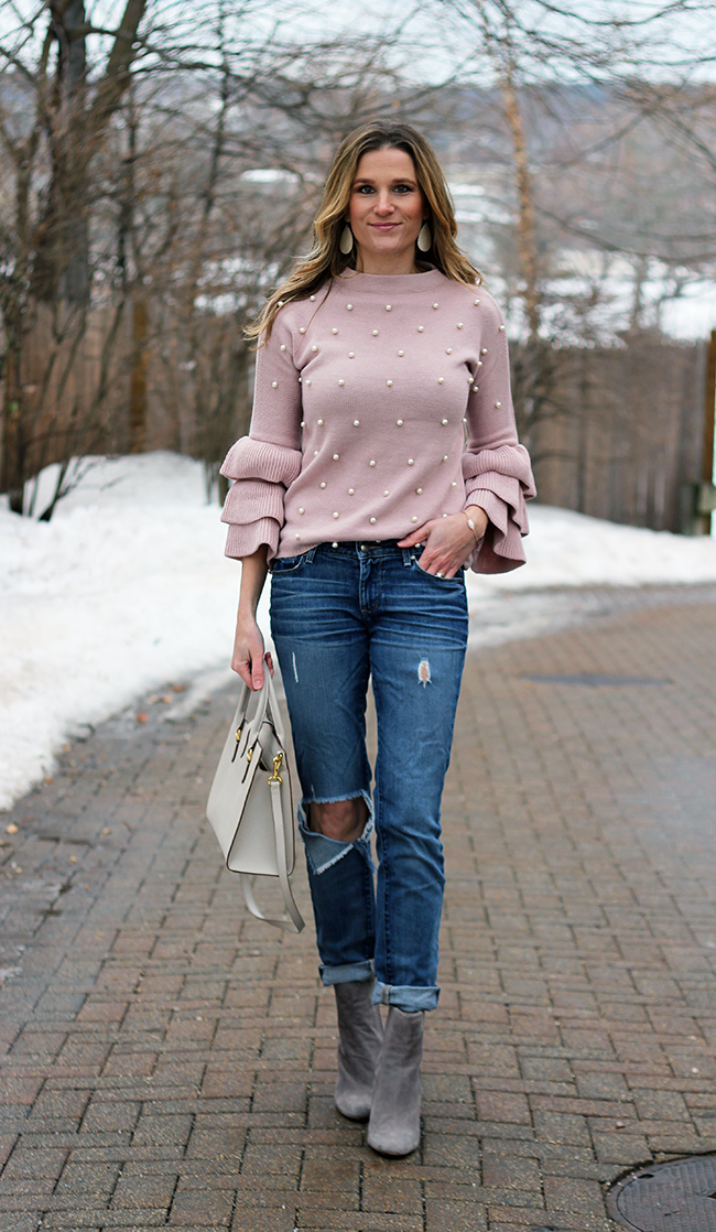 Affordable Pearl Studded Sweater #springoutfits #sweater