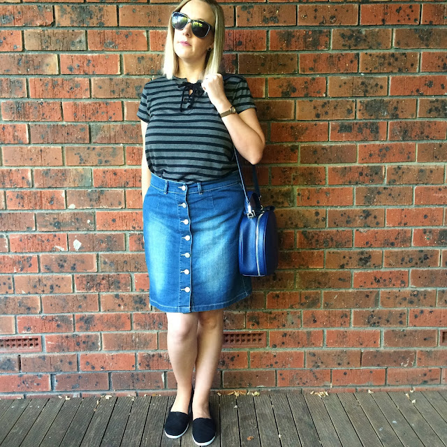 Striped tee and denim skirt | Almost Posh