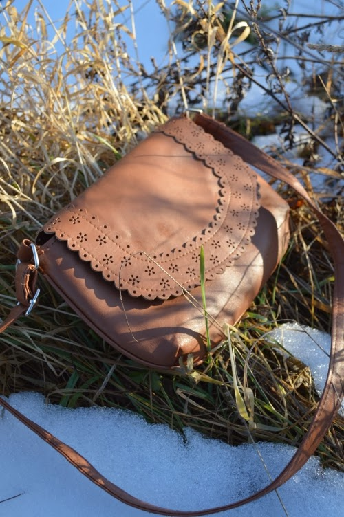 brown purse leather laser flower