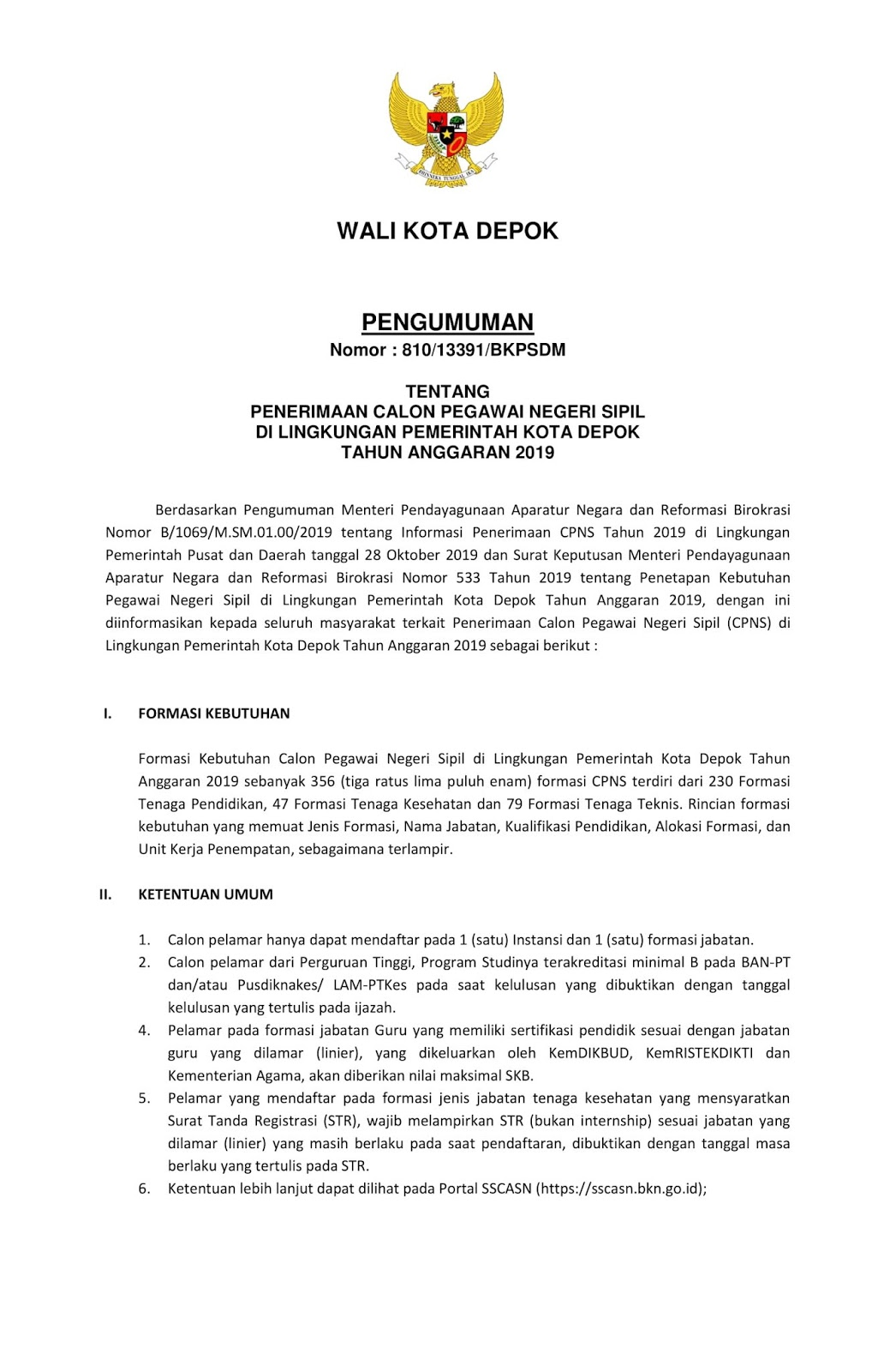 Penerimaan CPNS Lingkungan Pemerintah Kota Depok Tahun Anggaran 2019