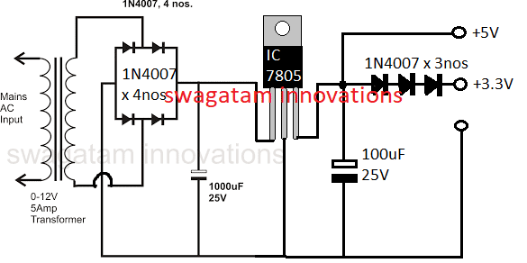 simple 5V and 3.3 V regulated power supply circuit using IC 7805