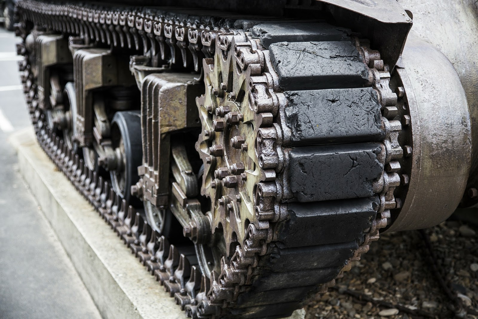 a close up of a world war 2 tank's tracks for blog post about movie fury